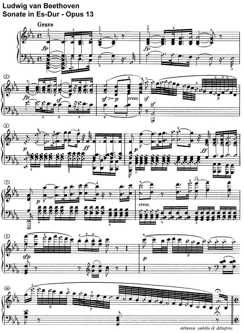 Beethoven - Sonate Es-Dur Opus 13 - 18 pages