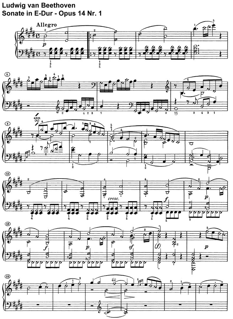 Beethoven - Sonate E-Dur Opus 14 Nr 1 - 13 pages
