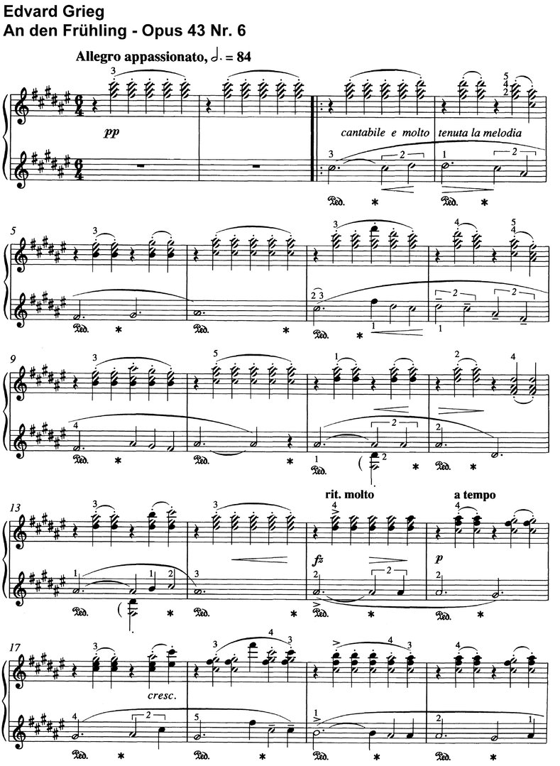 Grieg, Edvard - Opus 43 - 17 Pages