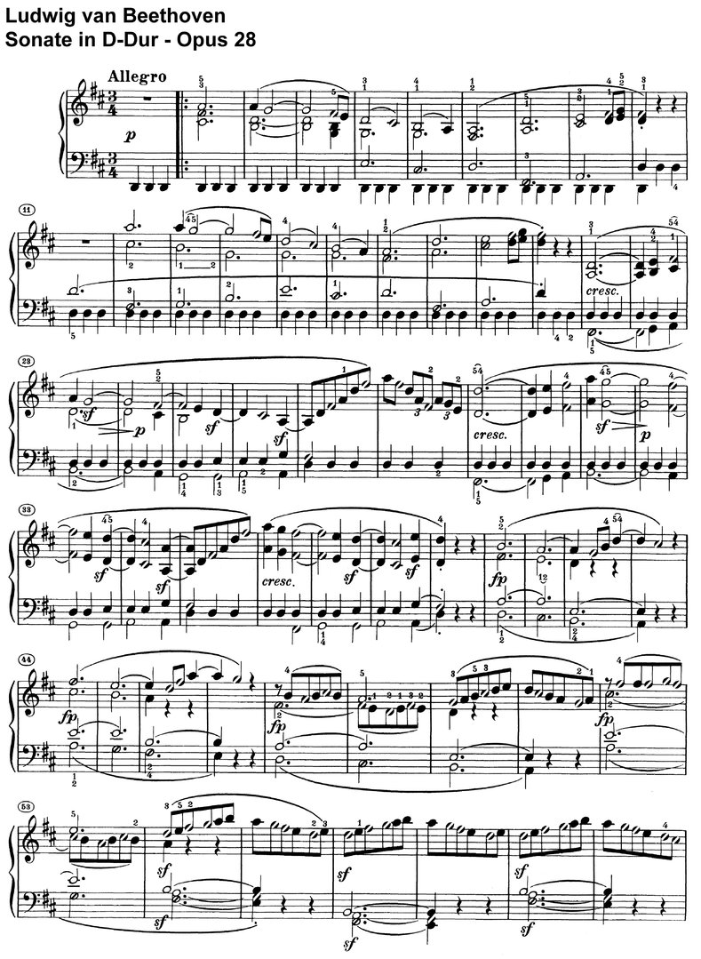 Beethoven - Sonate D-Dur Opus 28 - 21 pages