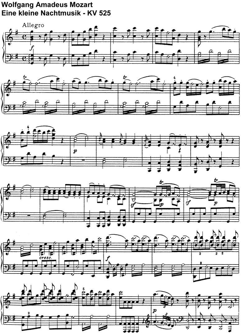 Mozart - Eine kleine Nachtmusik - 15 Seiten Klaviernoten