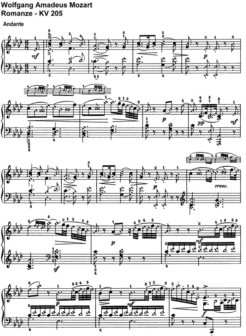 Mozart - Romanze KV 205  - 4 Pages