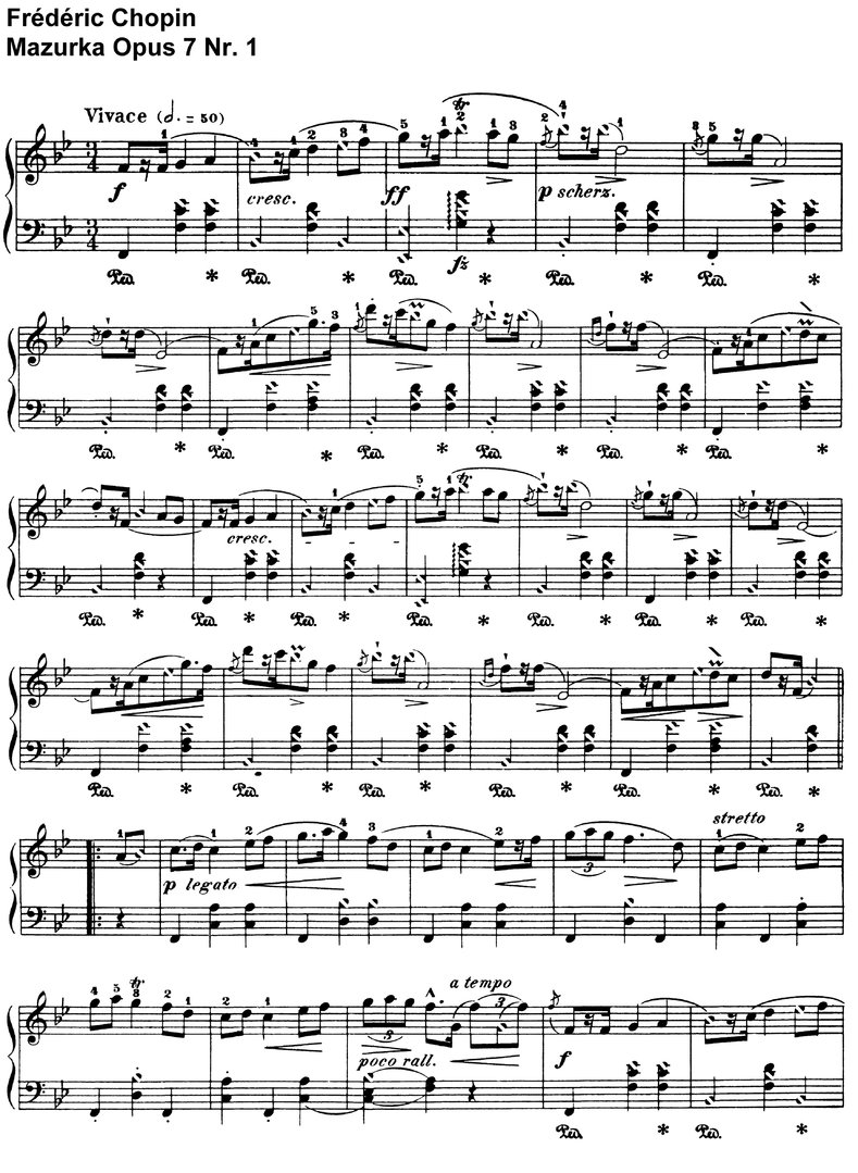 Chopin - Mazurka Opus 7 - 11 Pages