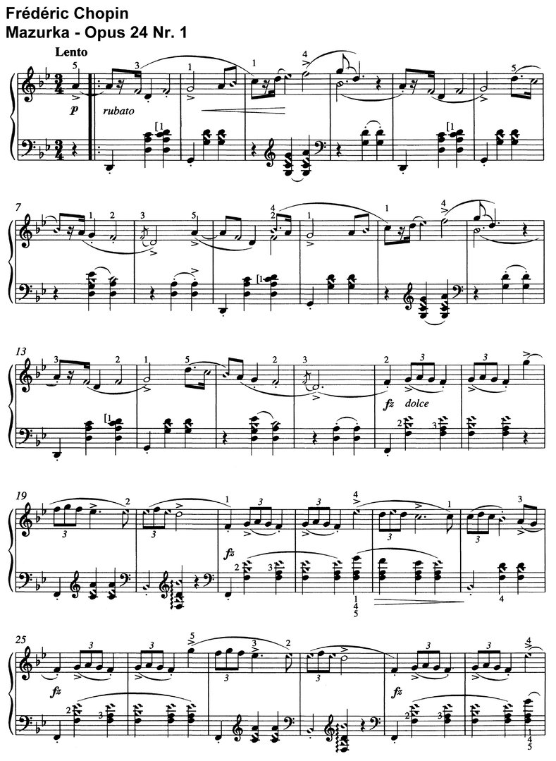 Chopin - Mazurka Opus 24 - 13 Pages