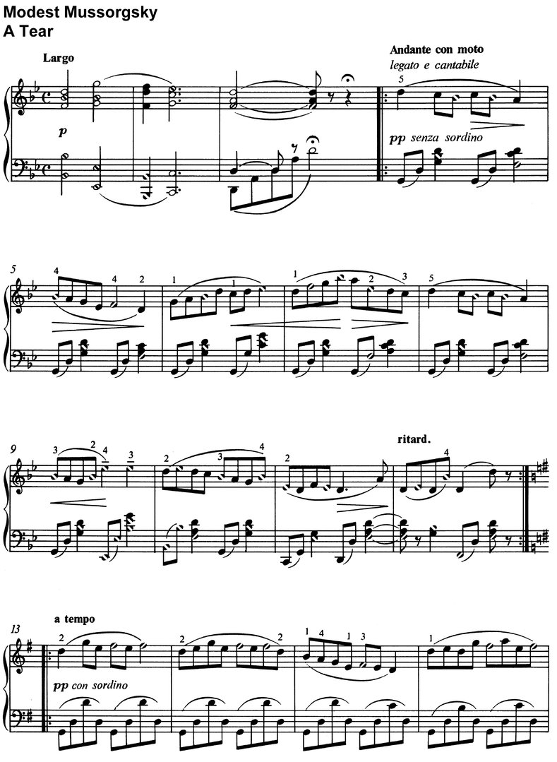 Mussorgsky, Modest - A Tear - 2 Pages