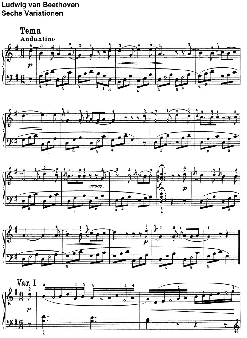 Beethoven - Sechs Variationen - 8 Pages