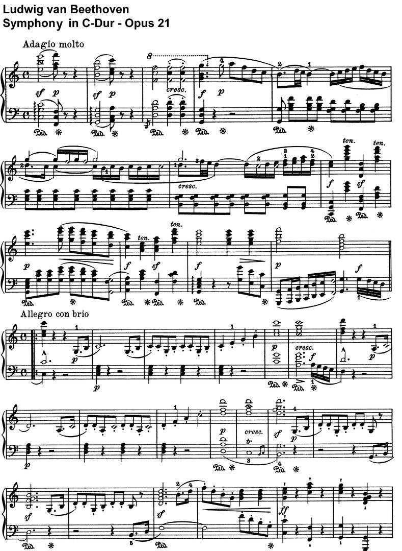 Beethoven - Symphony C-major Opus 21 - 19 pages