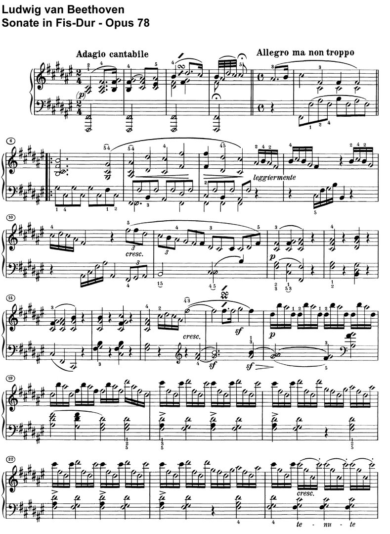 Beethoven - Sonate Fis-Dur Opus 78 - 10 pages