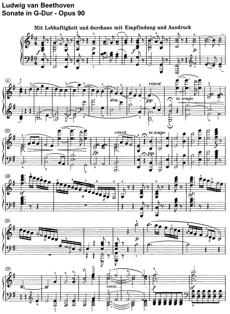 Beethoven - Sonate G-Dur Opus 90 - 15 pages
