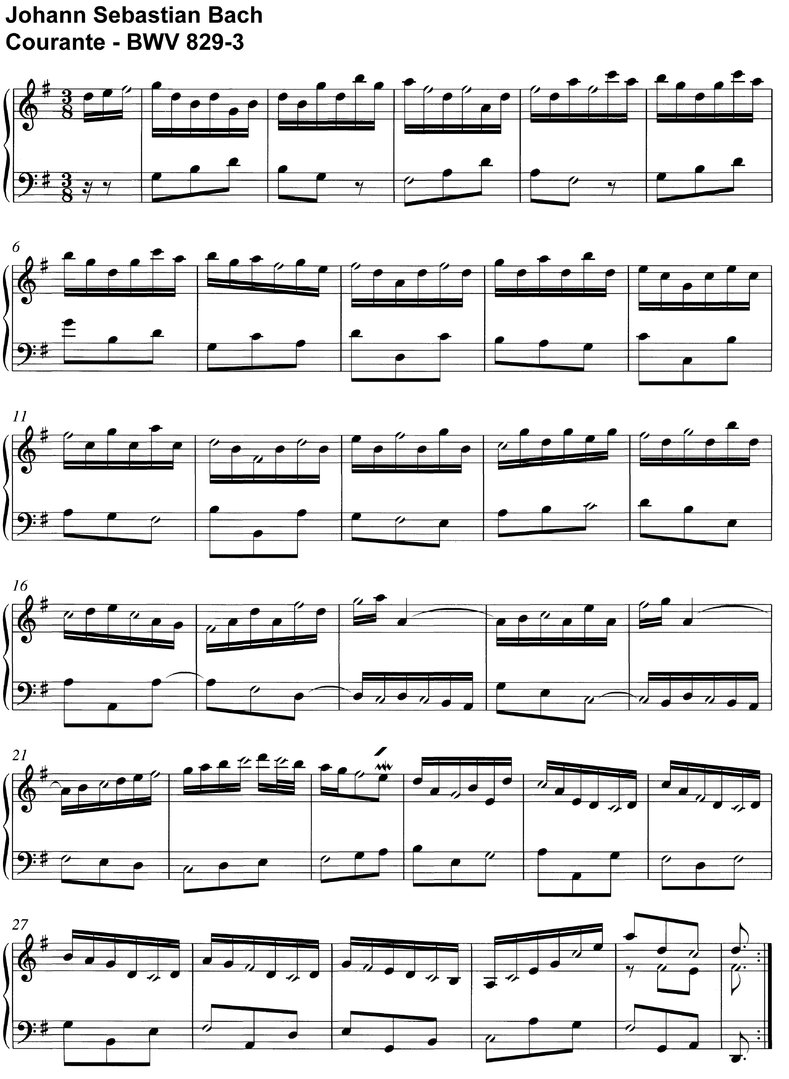 Bach, J S - Courante BWV 829-3 - 2 Pages