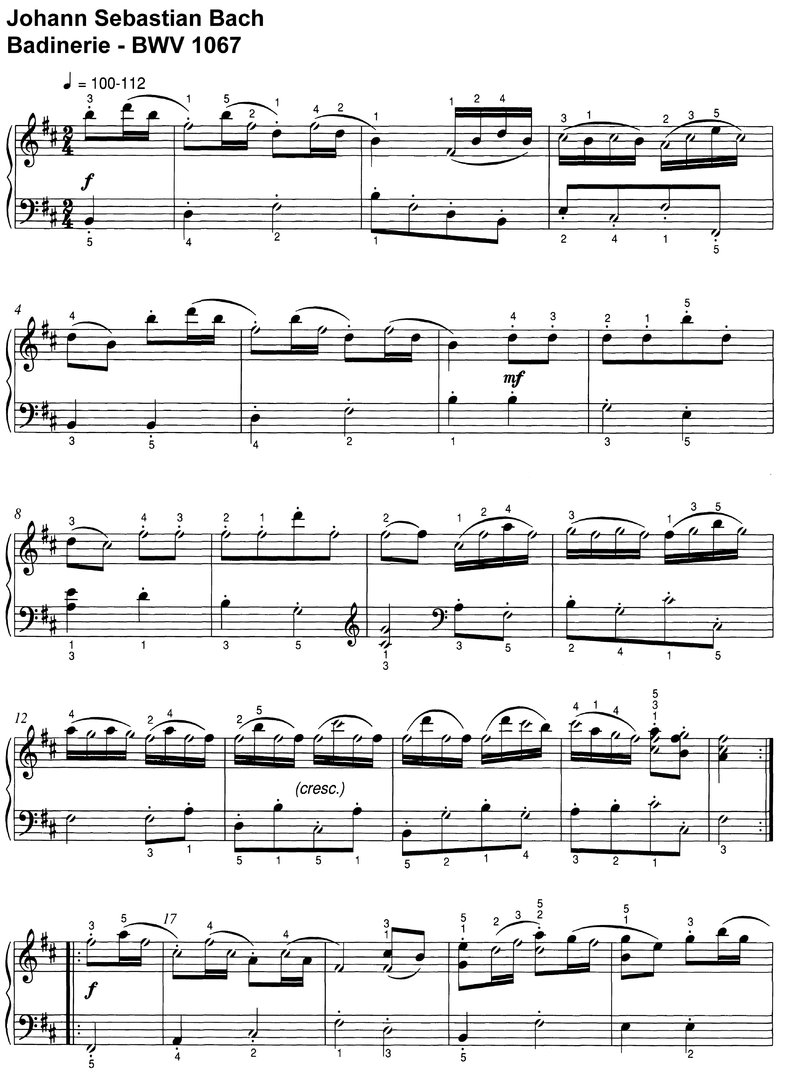 Bach, J S - Badinerie BWV 1067 - 4 Pages