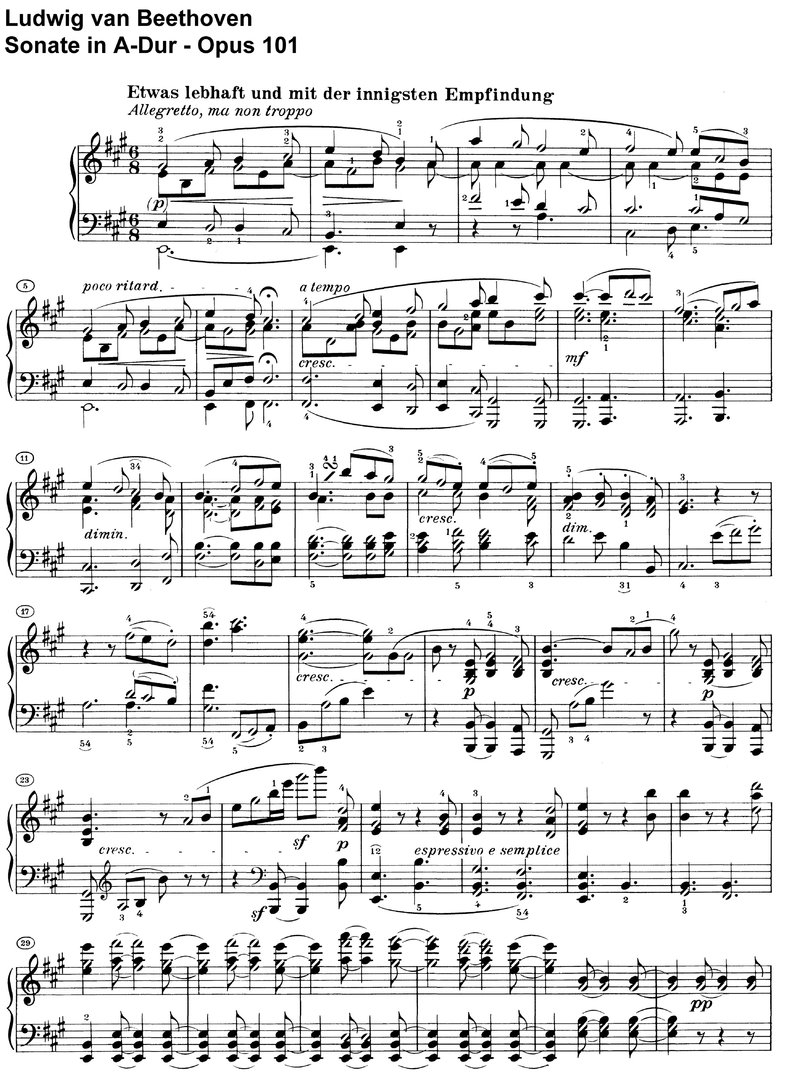Beethoven - Sonate A-Dur Opus 101 - 16 pages