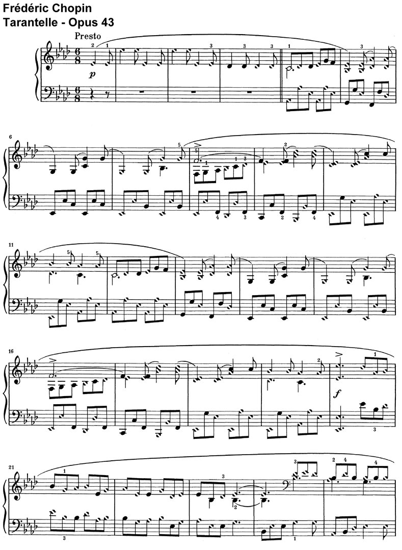 Chopin - Tarantelle - Opus 43 - 10 Pages