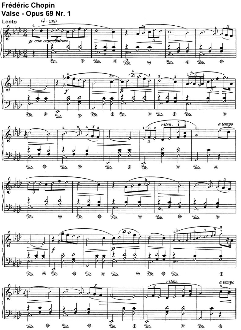 Chopin - Valse Opus 69 Nr 1 - 3 Pages