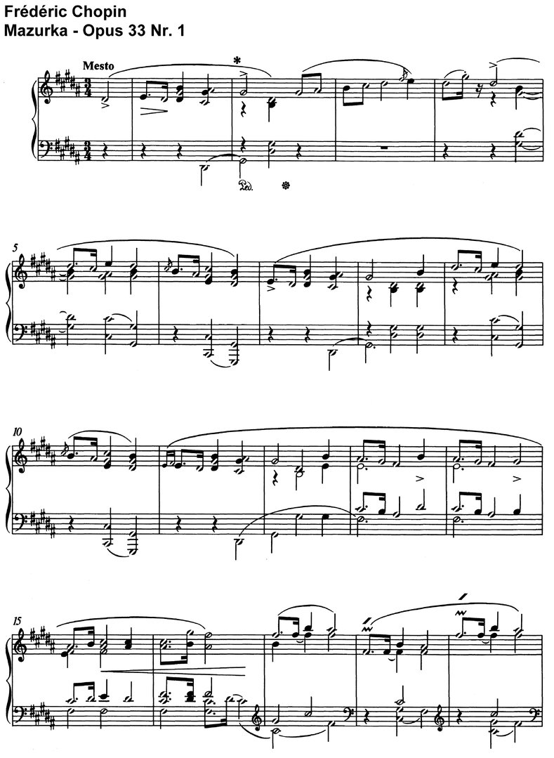 Chopin - Mazurka - Opus 33 - 15 Pages