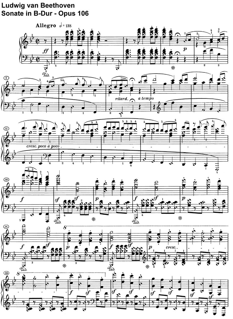 Beethoven - Sonate B-Dur Opus 106 - 46 pages