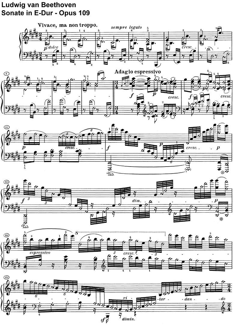 Beethoven - Sonate E-Dur Opus 109 - 18 pages