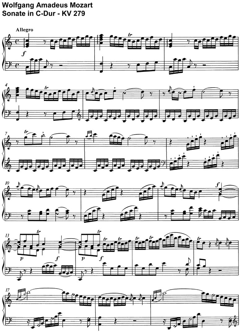 Mozart - Sonate C-Dur - KV 279 - 14 pages