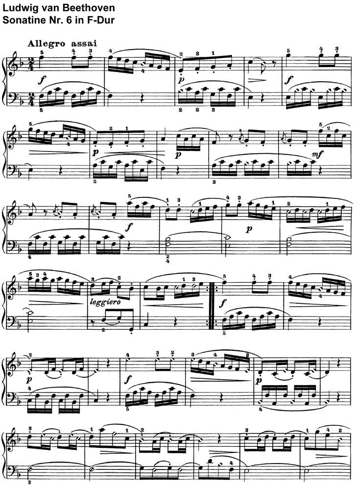 All Music Chords beethoven sheet music : Beethoven - Sonatine Nr 6 in F-Dur - piano sheet music download