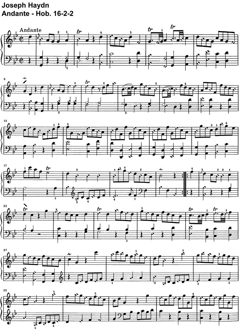Haydn - Andante Hob 16-2-2 - 2 Pages