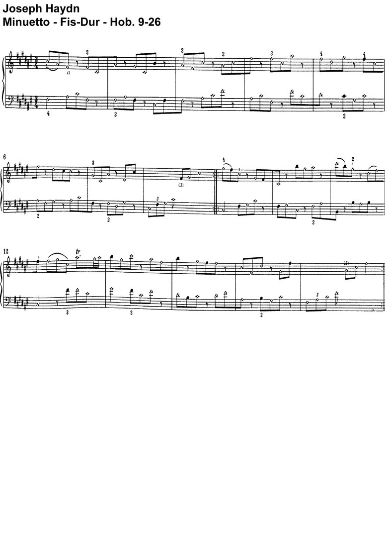 Haydn - Minuetto Fis-Dur Hob 9-26 - 1 Page