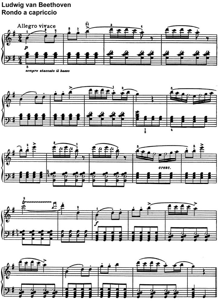 All Music Chords beethoven sheet music : Beethoven - Rondo a capriccio - 14 Pages - piano sheet music