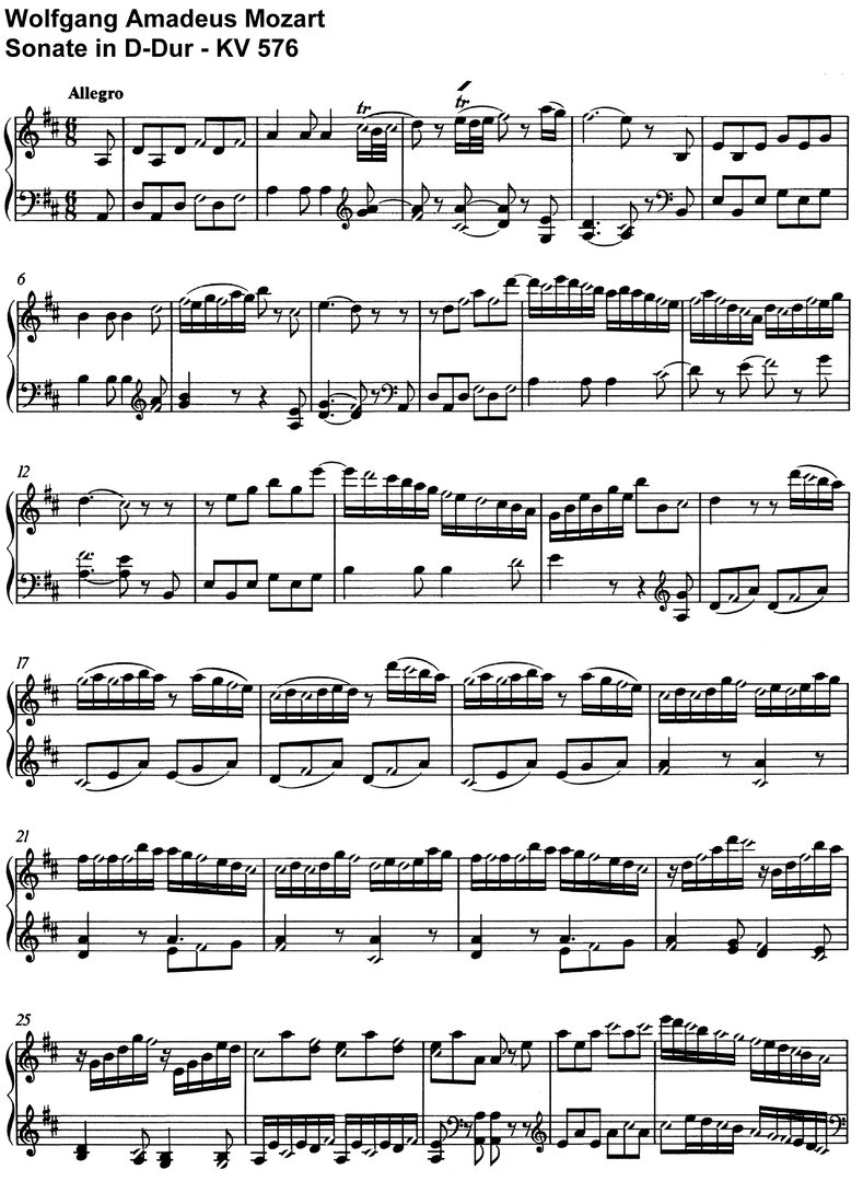 Mozart - Sonate D-Dur - KV 576 - 18 pages
