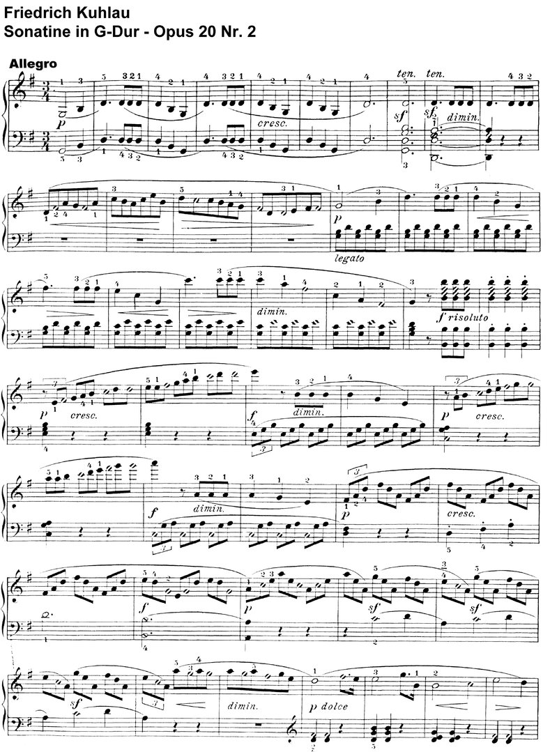 Kuhlau - Sonatine G-Dur - Opus 20 Nr 2 - 7 pages