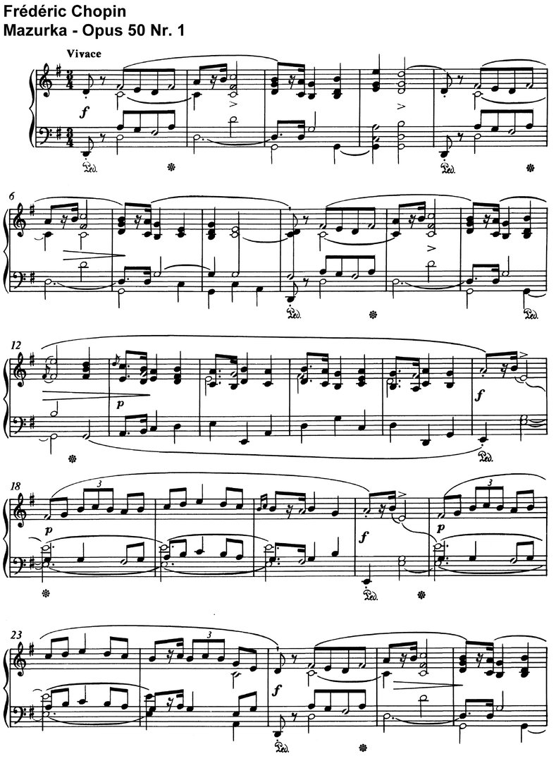 Chopin - Mazurka - Opus 50 - 14 Pages