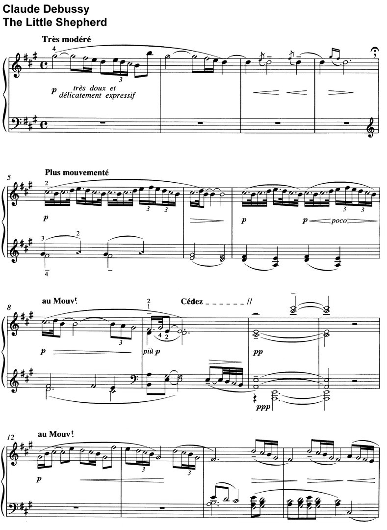 Debussy - The Little Shepherd - 2 Pages