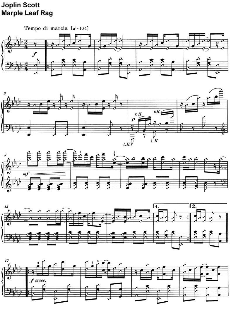 Scott, Joplin - Marple Leaf Rag - piano sheet music