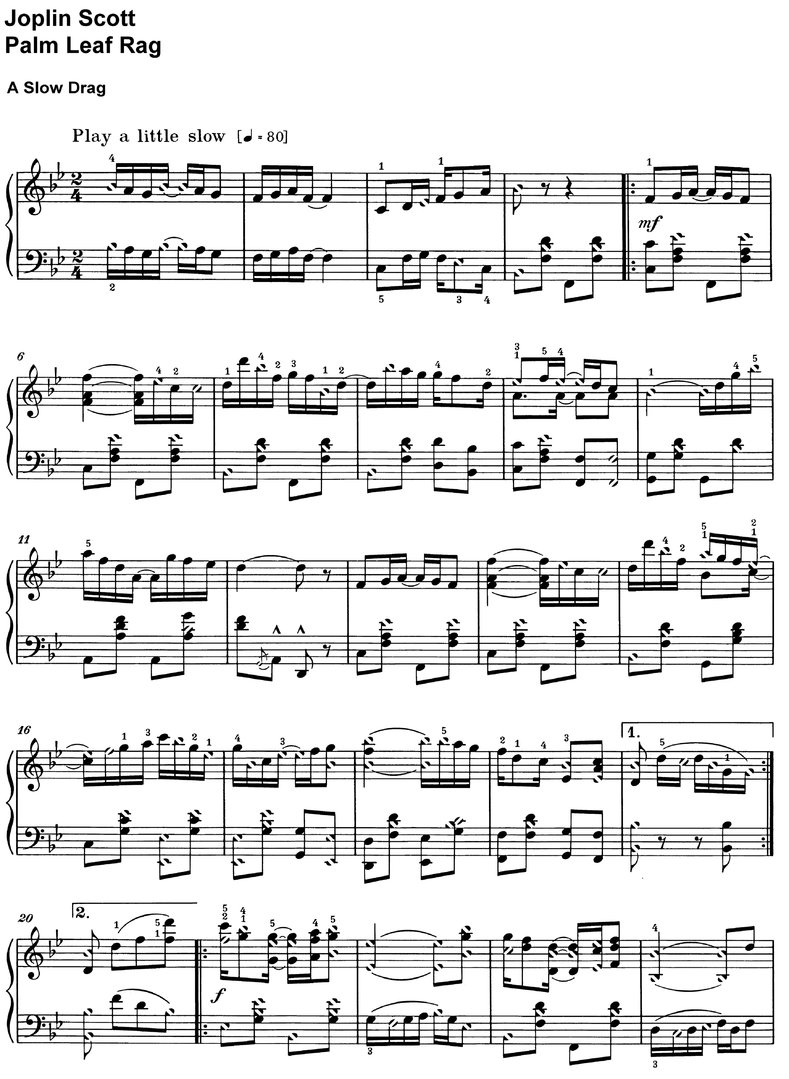 Scott, Joplin - Palm Leaf Rag - piano sheet music