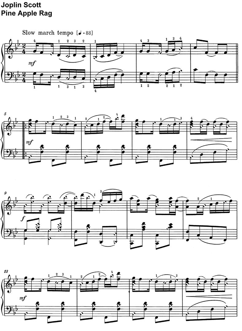 Scott, Joplin - Pine Apple Rag - piano sheet music
