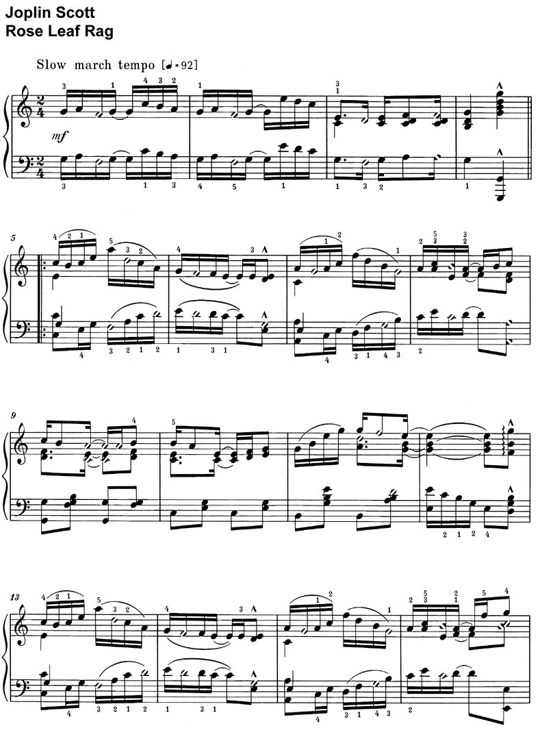 Scott, Joplin - Rose Leaf Rag - piano sheet music