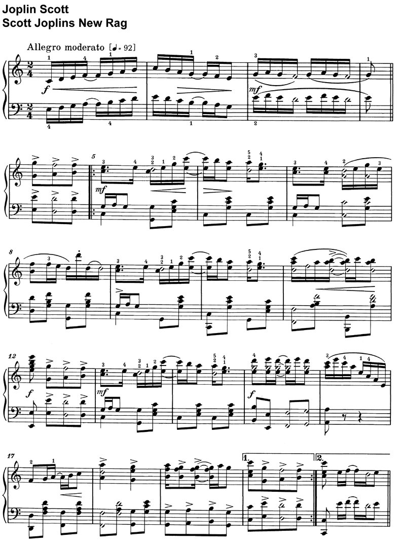Scott Joplin - Scott Joplins New Rag - piano sheet music