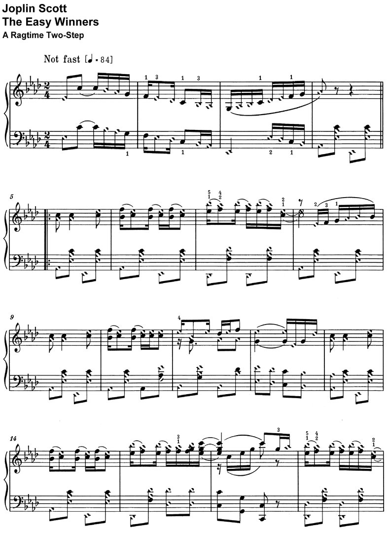 Scott, Joplin - The Easy Winners - piano sheet music