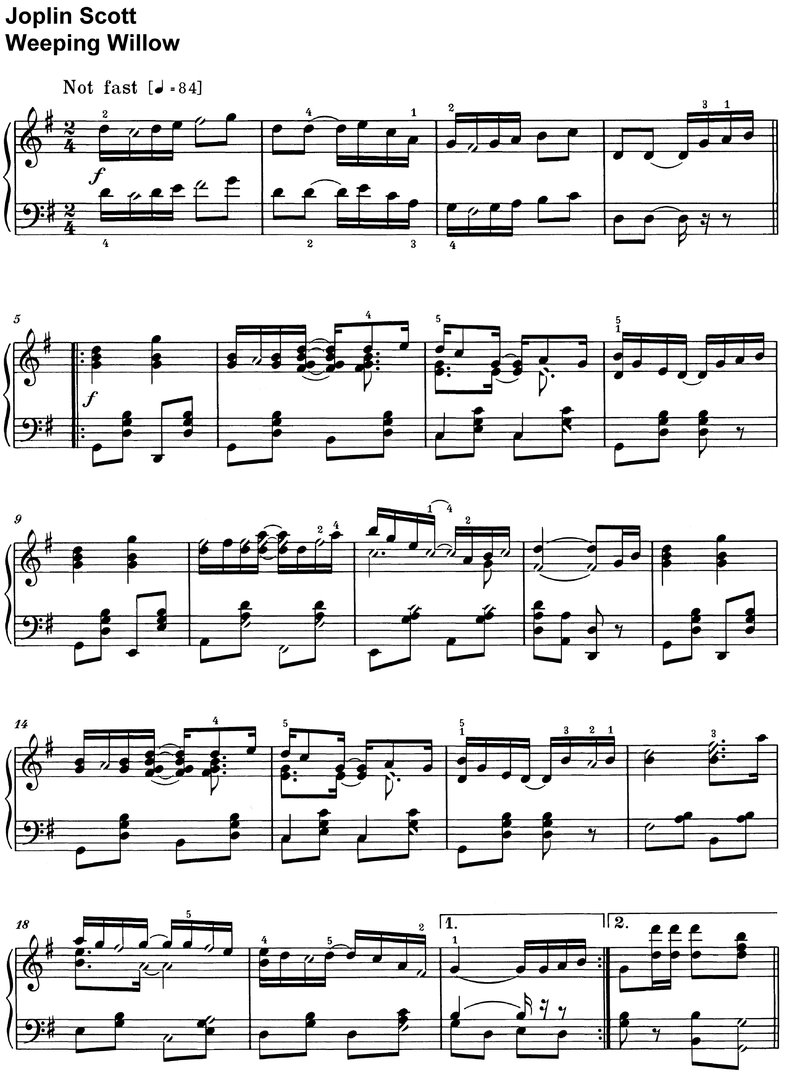 Scott, Joplin - Weeping Willow - piano sheet music