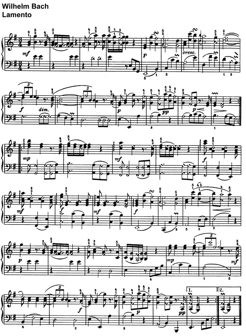 Bach, Wilhelm - Lamento - 1 page