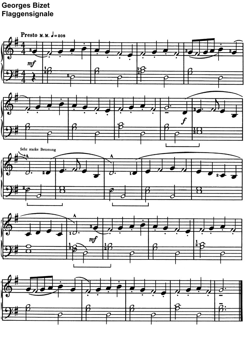 Bizet, Georges - Flaggensignale - 1 page