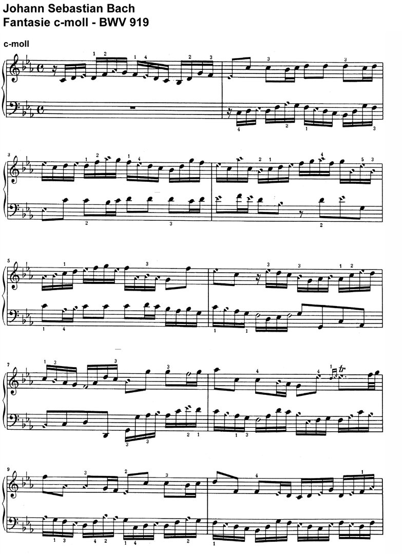 Bach, J S - Fantasie BWV 919 c-moll - 2 Pages