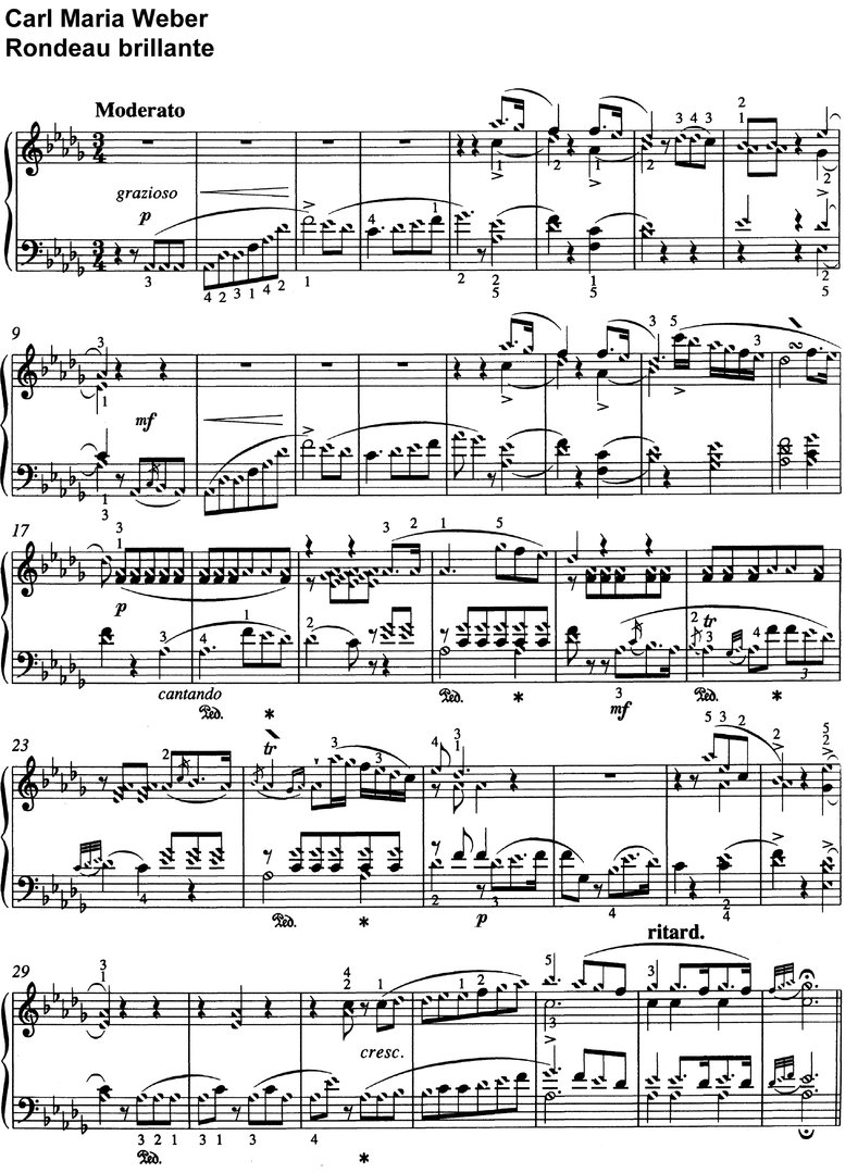 Weber - Rondeau brillante - Opus 65 - 10 pages