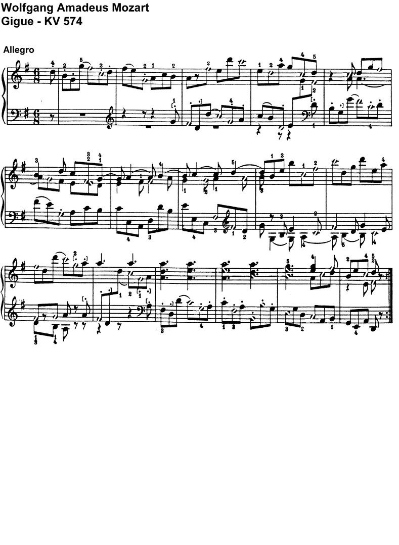 Mozart - Gigue - KV 574 - 1 Page