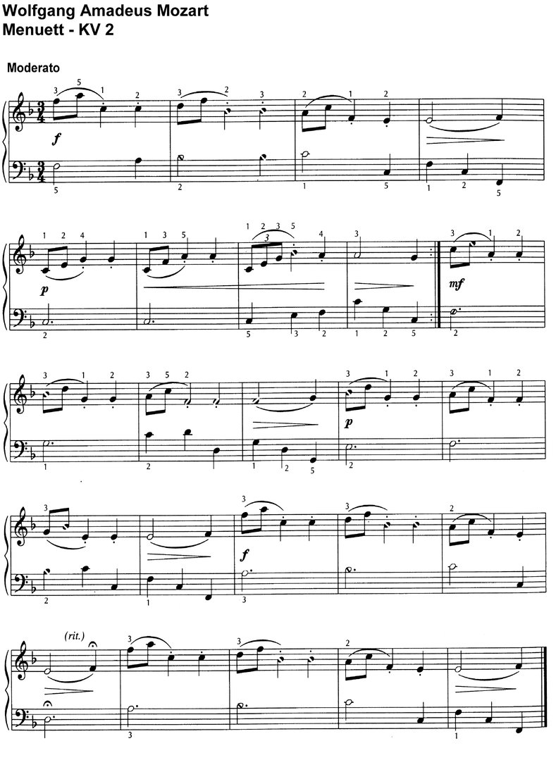 Mozart - 3 little minuets - 4 Pages