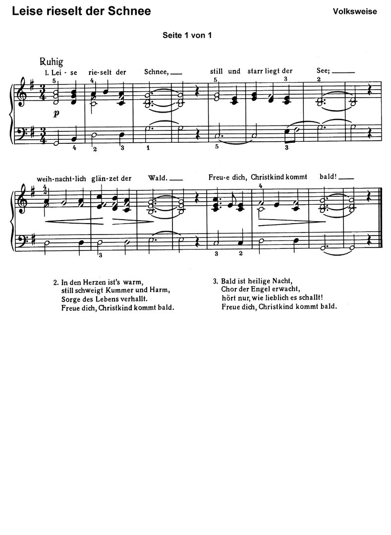 Leise rieselt der Schnee 7 Var. - piano sheet music