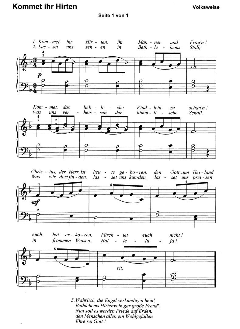 Kommet ihr Hirten in 6 Var. - piano sheet music